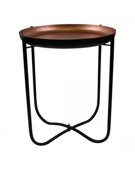 Stolik metalowy czarno-miedziany