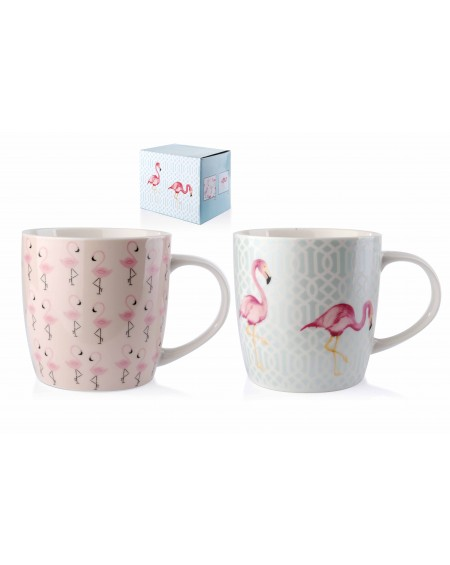 Kubek porcelanowy Flamingi 2 szt.