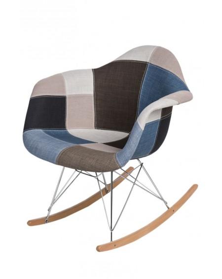 Krzesło Rubio Patchwork niebiesko-szary