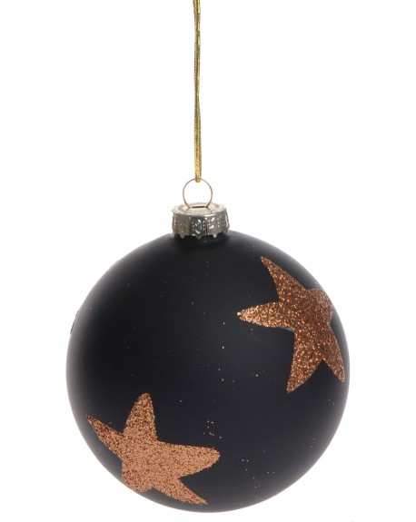 Bombka czarna matowa z gwiazdką