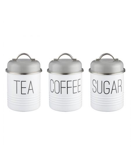 Zestaw 3 pojemników na herbatę, kawę i cukier Vintage Mayfair