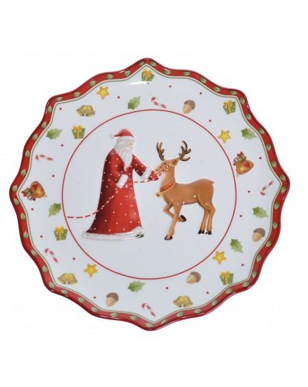 Talerz ceramiczny z Mikołajem duży