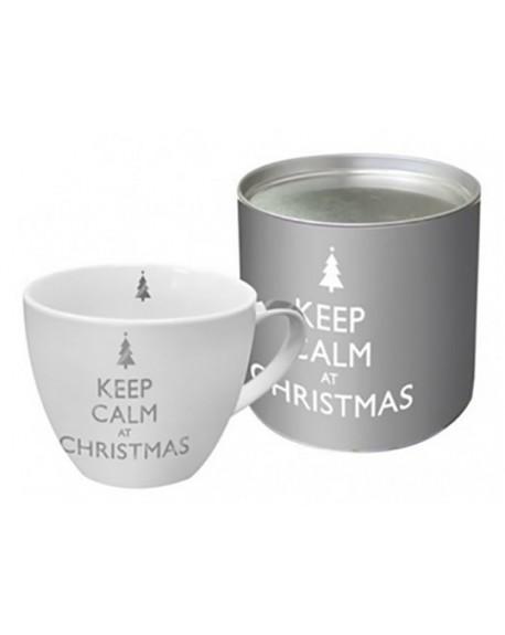 Kubek Keep Calm at Christmas silver