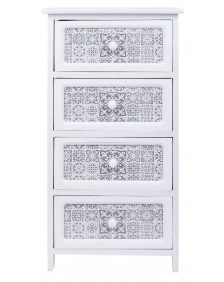 Szafka z czterema szufladami biała Mozaika