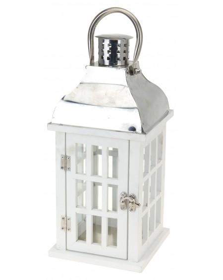 Lampion drewniany biały