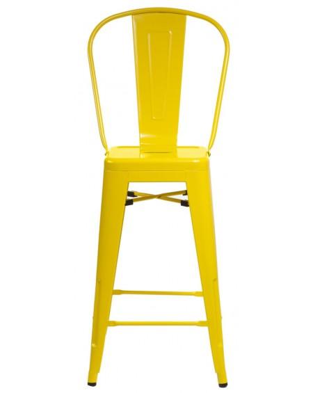 Stołek barowy z oparciem Metalove yellow