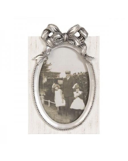 Ramka na zdjęcie z kokardą srebrną