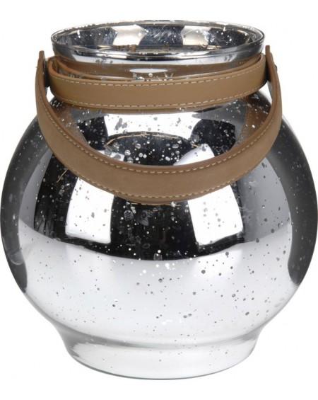 Lampion srebrny z uchwytem duży