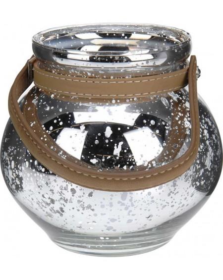Lampion srebrny z uchwytem mały