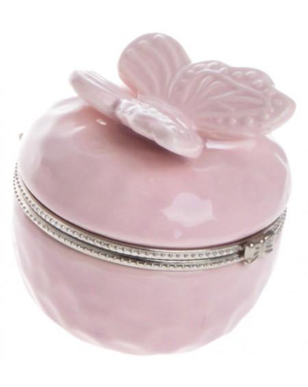 Puzderko ceramiczne z motylem różowe