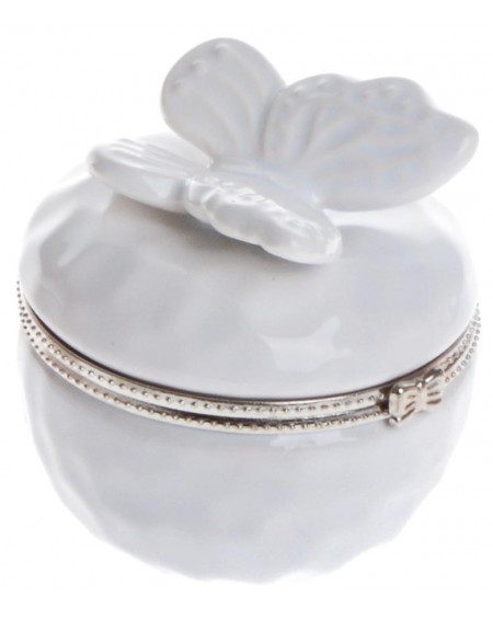 Puzderko ceramiczne z motylem białe