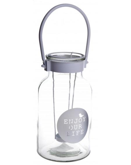 Lampion szklany Enjoy Your life większy