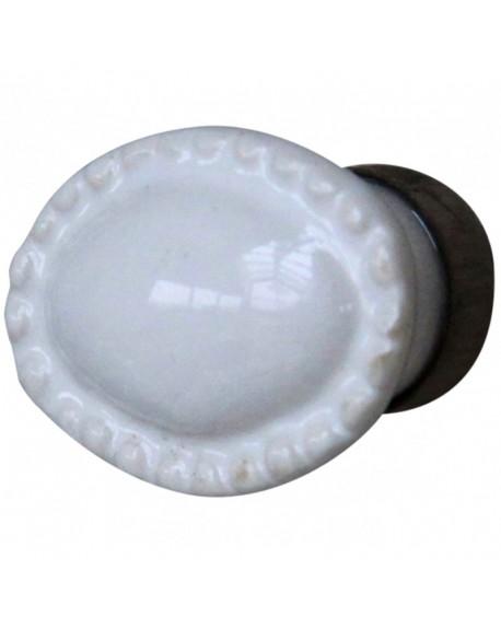 Gałka meblowa owalna biała