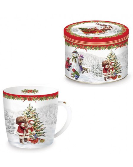 Kubek porcelanowy Retro Santa IV