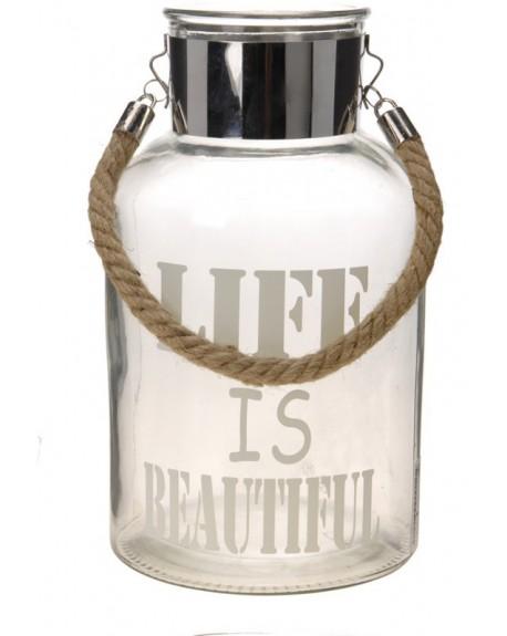 Lampion szklany Life is beautiful