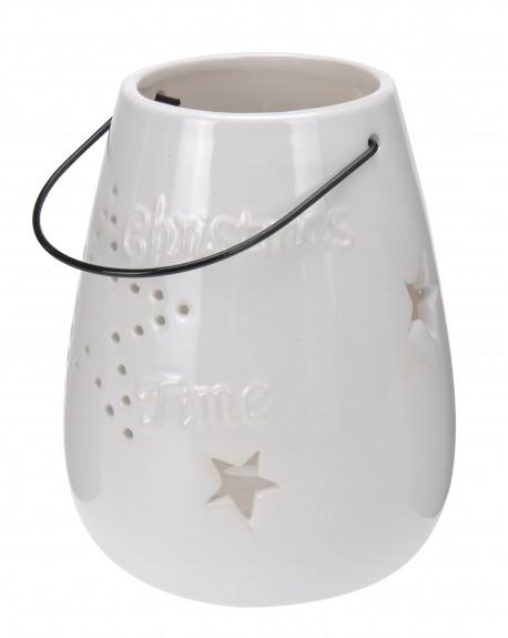 Lampion ceramiczny Christmas Time biały