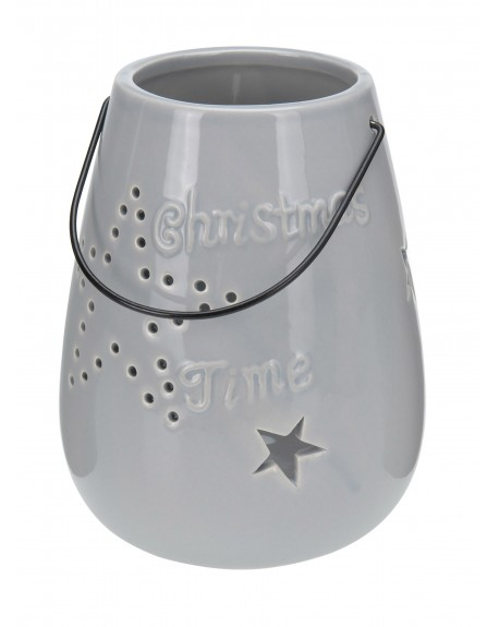 Lampion ceramiczny Christmas Time szary