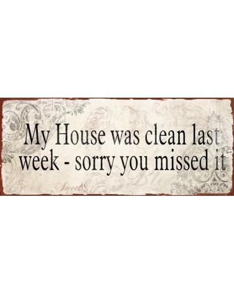 Szyld metalowy Clean House beż
