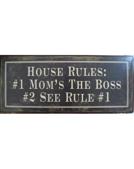 Szyld metalowy House Rules