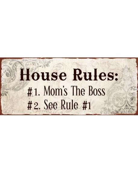 Szyld metalowy House Rules beż