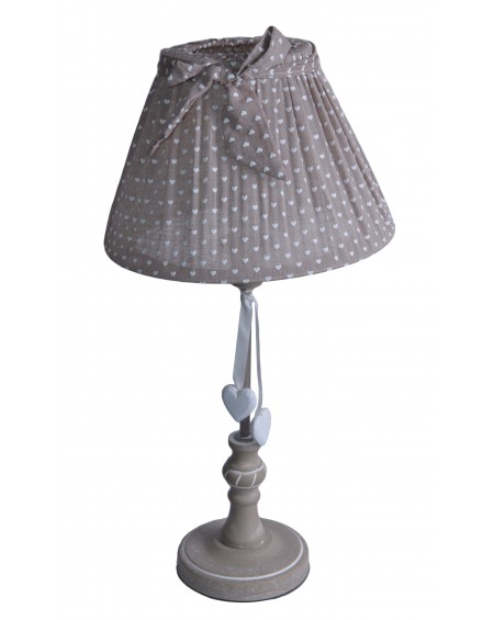 Lampa stołowa beżowa w serduszka