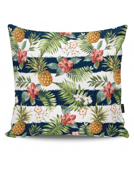 Poduszka dekoracyjna Stripped Pineapples navy