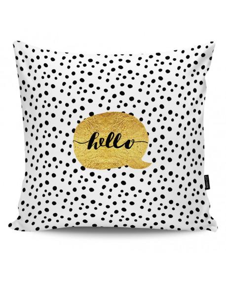 Poduszka dekoracyjna Hello gold