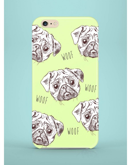 Etui na telefon Pugs in green