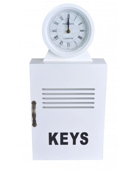 Zegar z szafką na klucze biały