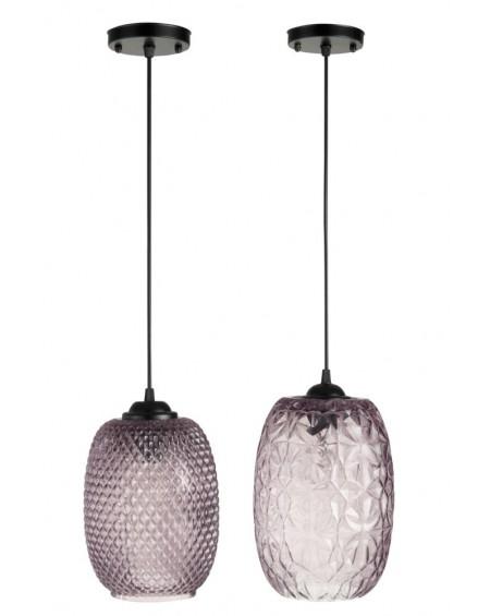 Lampa wisząca szklana Flo purple 2 szt.