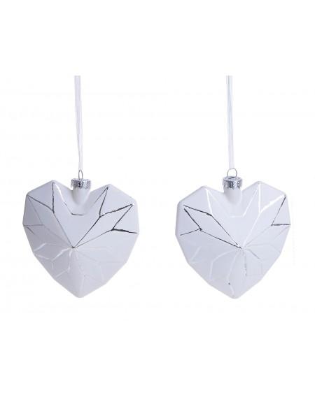 Bombka 2 szt. serce białe srebrny wzór