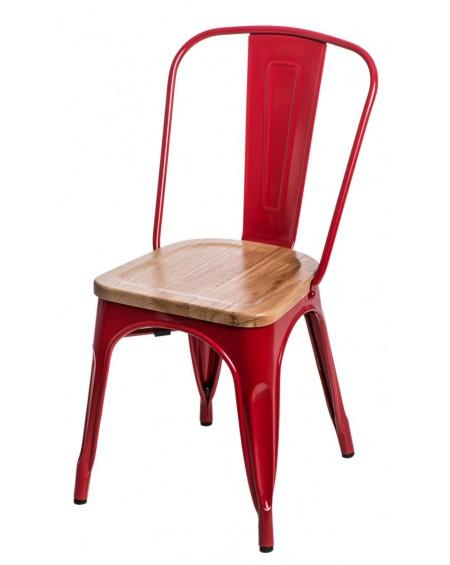 Krzesło Metalove Wood czerwone sosna/jesion