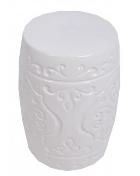 Stołek ceramiczny biały