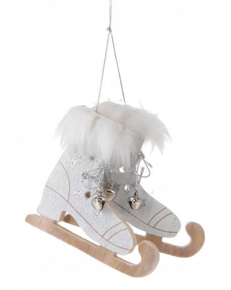 Zawieszka łyżwy biało-srebrne