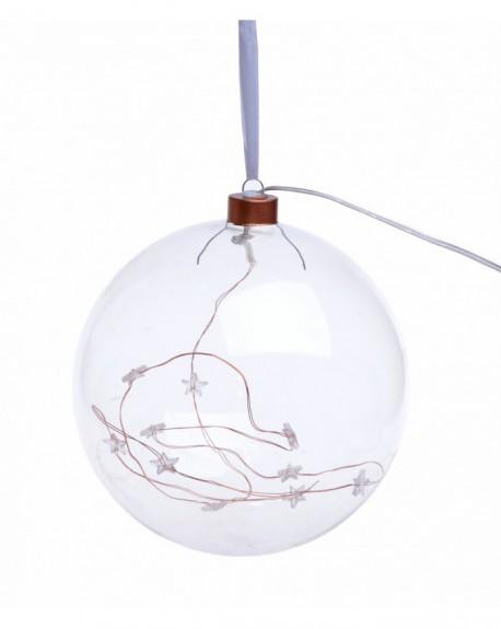 Bombka LED szklana miedź