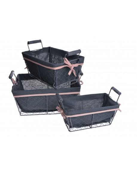 Koszyk metalowy 3 szt. szaro-różowy