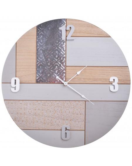 Zegar beżowo-srebrny okrągły