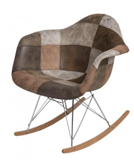 Krzesło Rubio Patchwork beżowo-brązowy