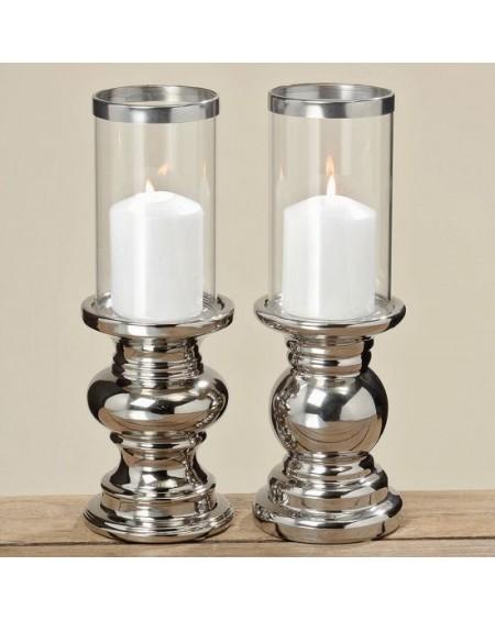 Świecznik ceramiczny srebrny