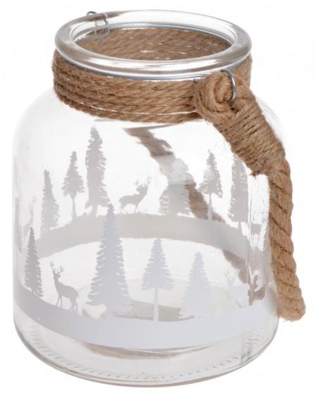 Lampion szklany ze sznurem Zimowy Las