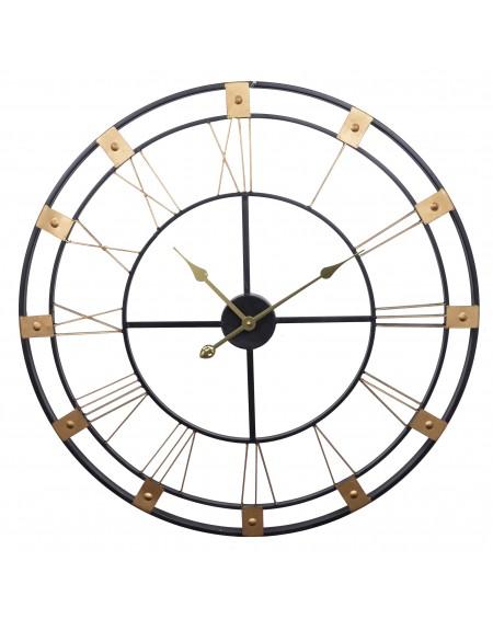 Zegar ścienny metal czarno-złoty