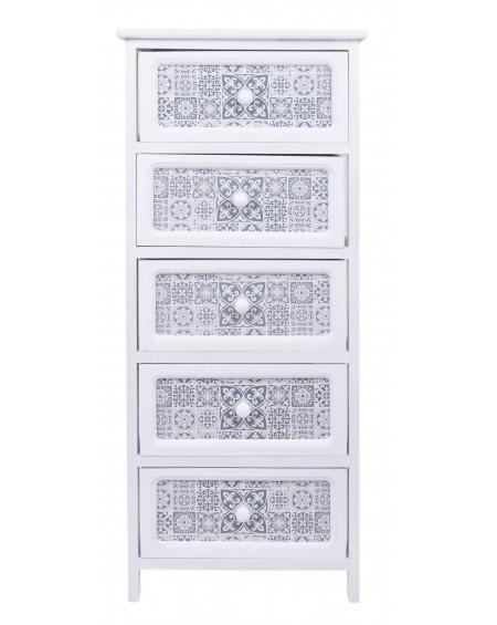 Szafka z pięcioma szufladami biała Mozaika