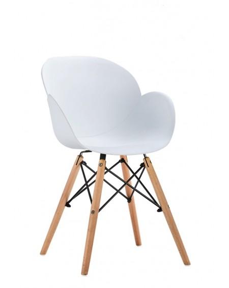Krzeslo Flower Wood białe