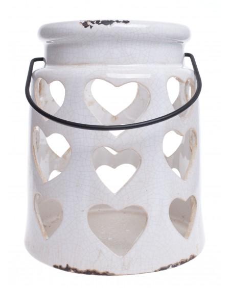 Lampion ceramiczny biały serca