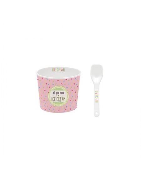 Pucharek na lody z łyżeczką różowy