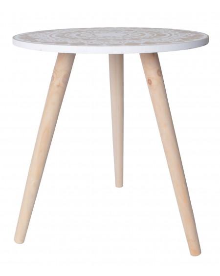 Stolik drewniany z wzorem
