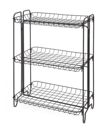 Regał stojak z 3 półkami czarny metalowy