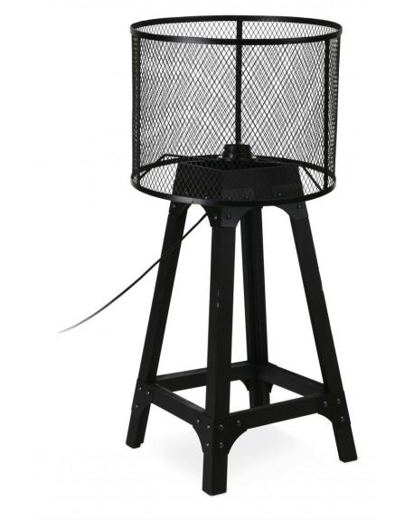 Lampa stołowa z drewnianą podstawą 63 cm