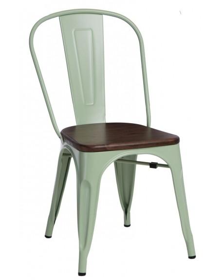 Krzesło Metalove Wood zielone sosna