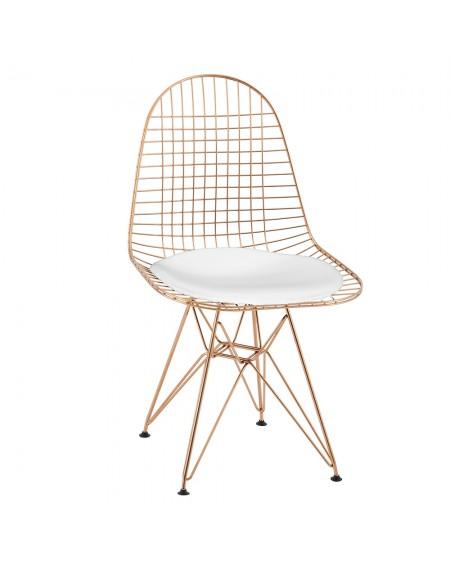 Krzesło Nest GOLD złote - biała poduszka, metal